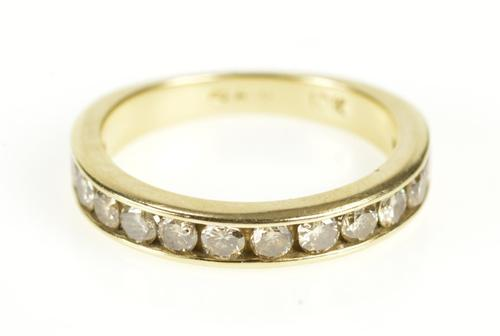 10K Yellow Gold Channel Inset Classic Diamond Wedding Band Ring