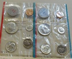 1964 Uncirculated Mint Set, Silver, both P and D coins