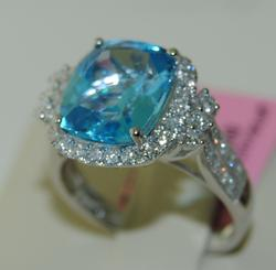 Icy Blue Topaz and Diamond Cocktail Ring