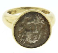 18kt Silver Ancient Bezel Set Coin Ring