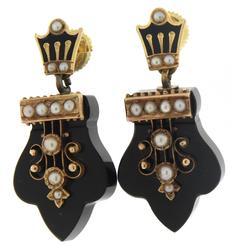 Georgian Era Mourning Jet Pearl Earrings