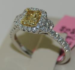 Fancy Yellow and White Diamond 18kt Ring