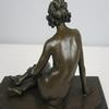 Victorian Lady Bronze on Marble Statue