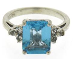 Blue Topaz and CZ Sterling Silver Ring