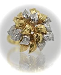 Intricately Detailed 18K Organic Dome Ring