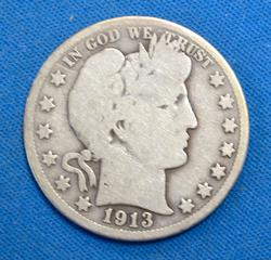 1913 BARBER HALF DOLLAR  CIRC.