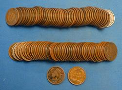 100 MIXED DATE INDIAN CENTS   GOOD - VERY GOOD