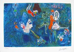 Limited Edition Marc Chagall Circus Clown And Dancer