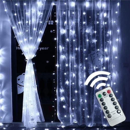 USB 8 Modes 300LED Curtain String Fairy Lights