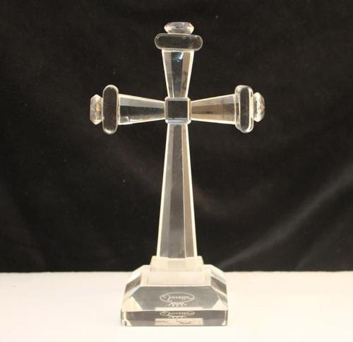 Crystal Cross on Pedestal