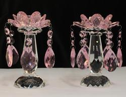 Pink Candleholder with Drops - Set of 2