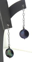 Fresh Water Black Coin Dangle Earrings
