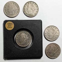 5 Nicer 1883 No Cents Rackateer Nickels