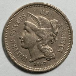 1867 Unc 3 Cent Nickel With Full Column Lines