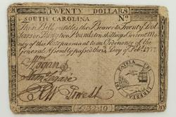 $20 South Carolina Note Feb 14 1777
