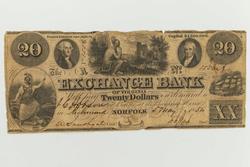 $20 The Exchange Bank Of Virginia Norfolk May 7 1854