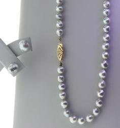 Grey Borque Pearl Necklace and Earrings Set