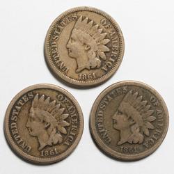 3 Tougher 1861 CN Civil War Cents