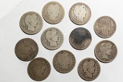11 Assorted Barber Quarters