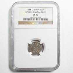 1588 D Spain 1/2 Real Silver Seville  VF 30 NGC