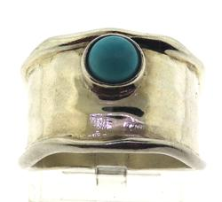 Sterling Silver Wide Band w Small Turquoise
