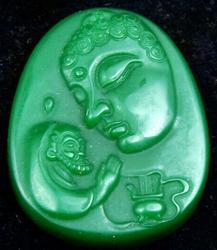 Green Jade Carved Shakyamuni Buddha Pendant