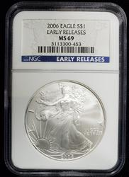 2006 Certified Silver Eagle MS69 NGC Early Release