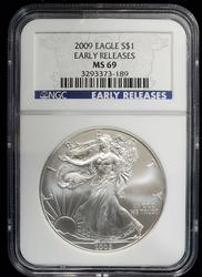 2009 Certified Silver Eagle MS69 NGC Early Release