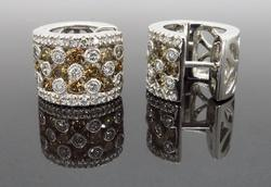LeVian Diamond Huggie Earrings Made in 18k White Gold