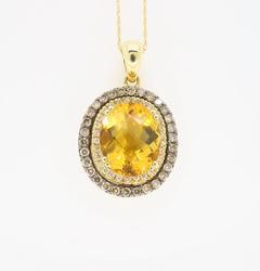 LeVian Citrine and Diamond Pendant Necklace