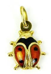 Italian 14K Enameled Puffy Lady Bug Pendant