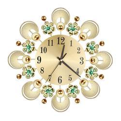 European Retro Flower Diamond Iron Wall Clock