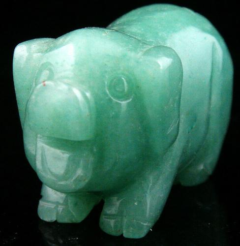 Fat Pig Standing Carved Green Jade Sculpture