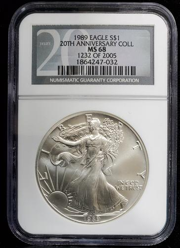 1989 Certified Silver Eagle MS68 NGC