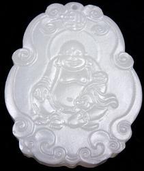 Laughing Buddha Holds Ru Yi White Jade Pendant