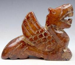 Jade Carved Old Nephrite Monster Dragon Sculpture