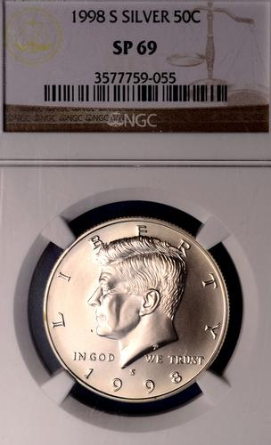 Key Matte Finish 1998-S Silver 50C, NGC SP69