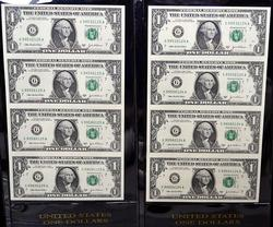 2 - 4 NOTE $1 UNCUT SHEET SERIES 2003A CHICAGO FED