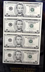 4 NOTE $5 UNCUT SHEET SERIES 2003A SAN FRANCISCO FED