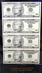 4 NOTE $10 STAR UNCUT SHEET SERIES 2003A BOSTON FED
