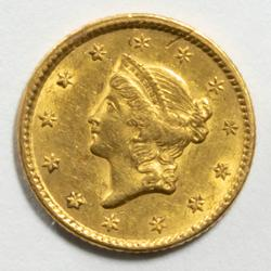 Raw Almost Near Uncirculated 1851 $1 US Gold