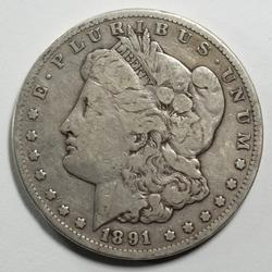 Raw 1891 CC Morgan Silver Dollar