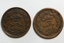 Pair Of Army Navy Patriotic No Date Civil War Tokens