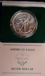 1989 BU Silver Eagle in Mint Box w Papers