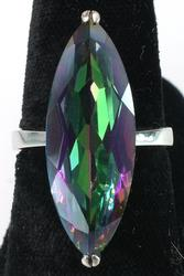 Large Mystic Quartz Ring in Sterling Silver