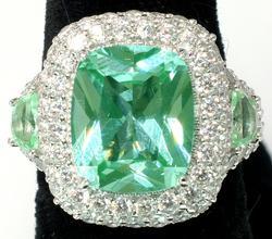 Fancy Sterling Silver Green Spinel & CZ Ring