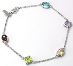 Sterling Silver Gemstone Station Bracelet