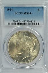 Nearly Gem BU 1924 Peace Silver Dollar. PCGS MS64+