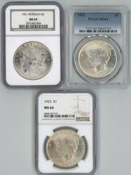 1921 Morgan, 1922 & 1923 Peace Silver Dollars. MS 64's