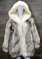 CHRISTIAN DIOR WHITE COYOTE COAT WITH HOOD